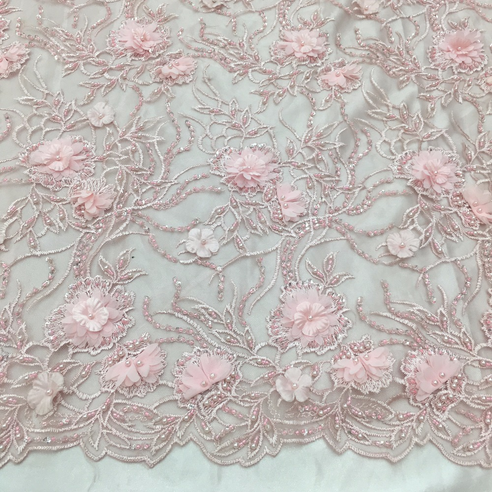 Rosa spitze stoff 2019 baby rosa 3d blumen mit perlen für wunderschöne gelegenheit design party hochzeit kleid