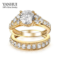 YANHUI Brand Luxury Real 18K Gold Filled Lovers Double Ring Fashion Jewelry 2ct Sona CZ Diamond