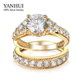 YANHUI Brand Luxury Real Solid Gold Filled Lovers Double Ring Fashion Jewelry 2ct CZ Diamond Engagement Rings For Women YR118