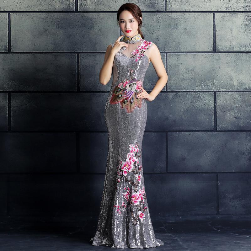 Элегантные женские Павлин, цветок Qipao винтажные аппликации блёстками китайский женский халат со стоячим воротником, с цветочным принтом китайская Невеста Свадебное банкетное платье - Цвет: Gray