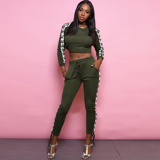 32e4be098a5c0 Sexy TWO PIECE SET Crop Top Lounge Pants Lace Up Matching Outfits Women  Tracksuit Suit Loungewear Ensemble Club Autumn Winter