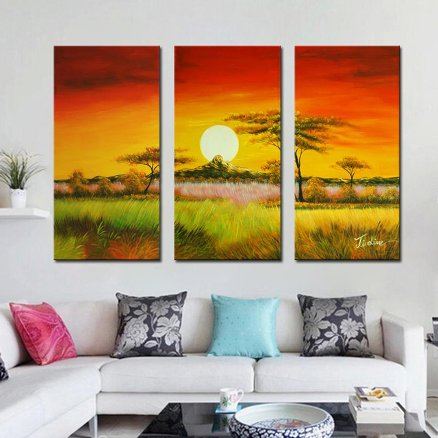 Beautiful The Grasslands of Sunset Landscape Oil Painting On Canvas ...