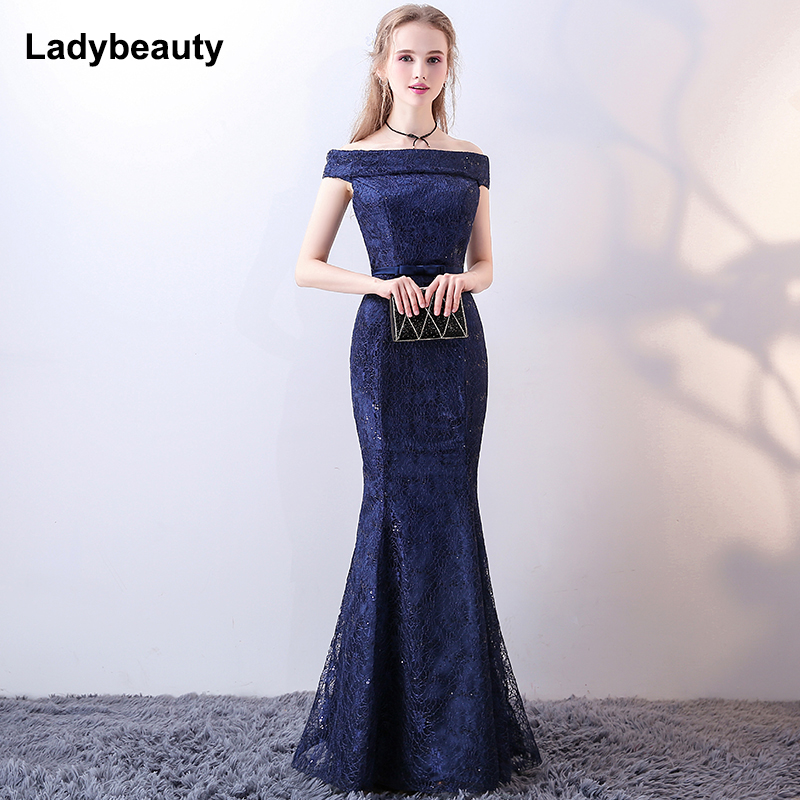 Robe De Soiree 2018 Navy Blue Lace Mermaid   Evening     Dress   Bride Slim Sexy Boat Neck Floor-length Mermaid Party Prom   Dress