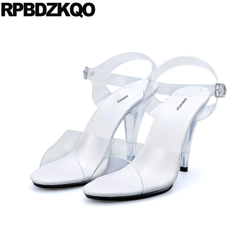 Clear Strap Heels Shoes Sandals Stiletto Big Size 11 Sexy Slingback Women Transparent Crossdressed Pvc Perspex Glass Pumps High sexy big stars sandals style pvc clear transparent back strap high heel sandals plus size custom stilettos women shoes
