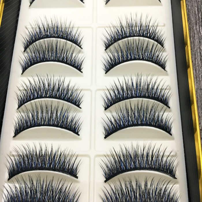 YOKPN Nieuwe Mode Valse Wimpers Natuurlijk Zachte Nep Wimpers RealisticNude Make-Up Tool Blauw Zwart wimpers 10 Pairs