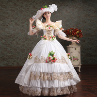 18th Century O Neck White/Red Lace Flowers Appliques Ruffles Muliti Layer Rococo Party Dress Renaissance banquet Show Ball Gown