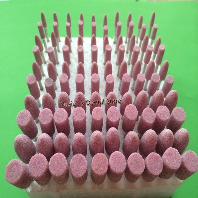 100PCS/set Dental Gravel Mounted Point Burs 2.35mm 3.0mm Bullet Cylinder Shape Dental Lab Clinic Polishing Grinding Material
