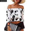 TANGNEST Floral Printed Sexy Women Crop Top 2017 New Good Quality Women Beach Tops Ruffle Off Shoulder Tee Loose Tanks WTL927