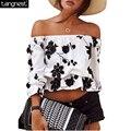 TANGNEST Impreso Floral Mujeres Sexy Crop Top 2017 Nueva Buena calidad de Las Mujeres de Playa Tops Ruffle Hombro Tee Tanques Sueltos WTL927