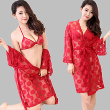 2016 New sexy women nighties female sleepwear dress women's nightgowns 3 pieces lace nightshirt indoor clothing sleepshirt