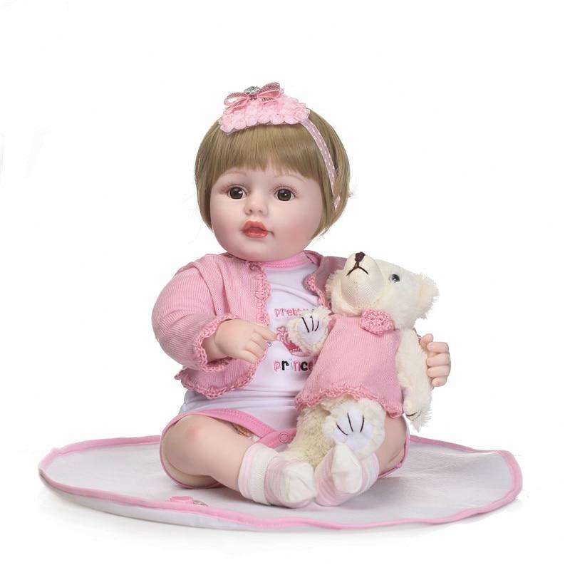 NPK silicone bambole rinato ragazza giocattoli 22 bebe ragazza principessa bambole parrucca capelli biondi orso bambola della peluche per i bambini regalo di compleannoNPK silicone bambole rinato ragazza giocattoli 22 bebe ragazza principessa bambole parrucca capelli biondi orso bambola della peluche per i bambini regalo di compleanno