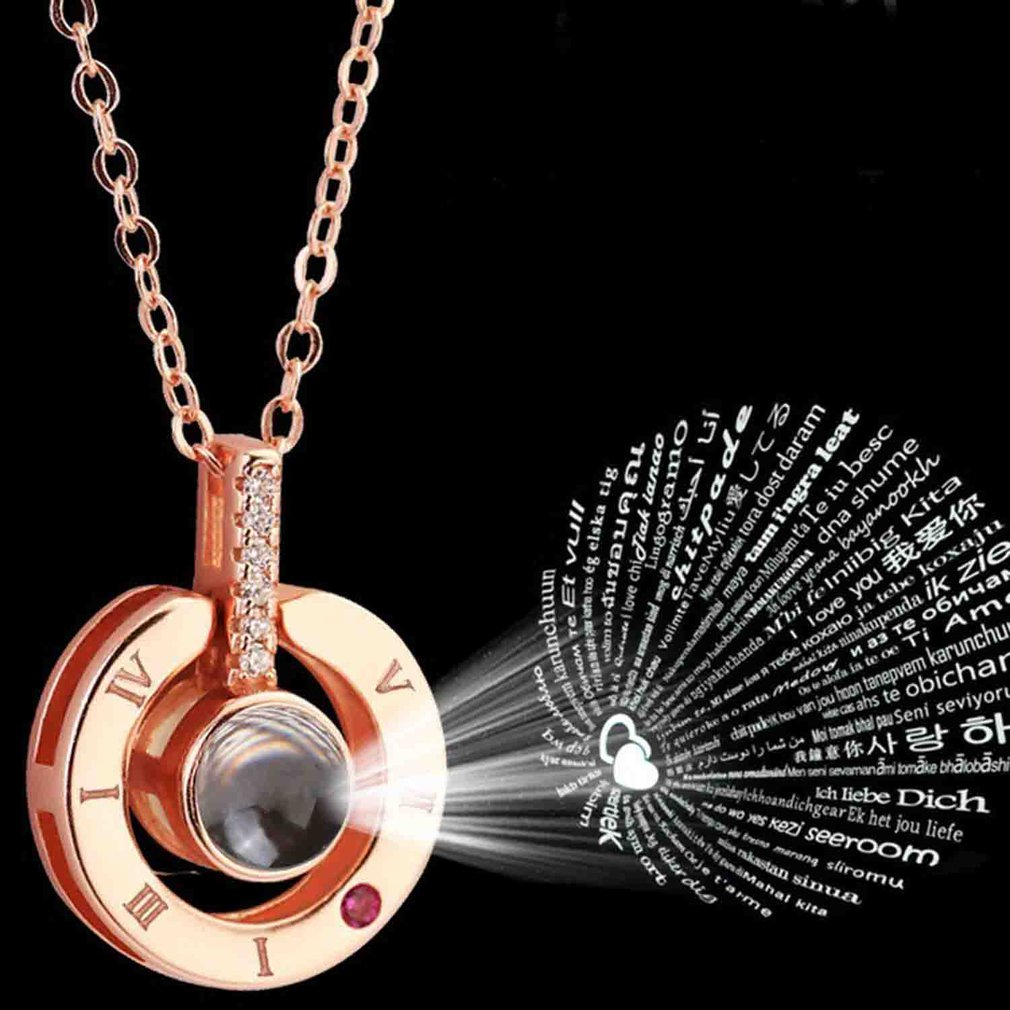 Rose Gold&Silver 100 Languages I Love You Projection Clavicle Romantic Memory Wedding Necklace Rose Gold Silver