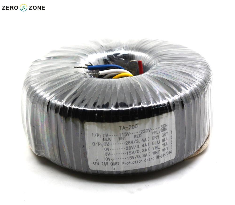 GZLOZONE TA-200 200 w Transformateur Toroïdal 200VA Double 28 v + Double 15 v Transformateur D'alimentation