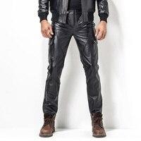 Men S Leather Pant Biker Pants Motorcycle Punk Rock Pants Man S Classic Pocket Leather Pants