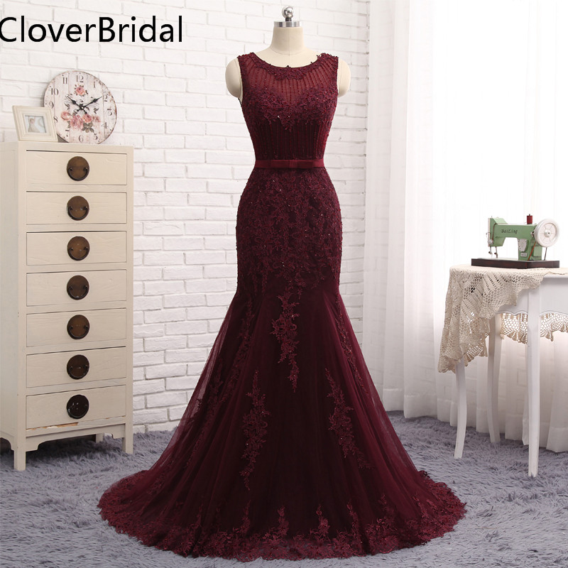 Robe De Soiree Mermaid Evening Dress Burgundy Floor Length Tulle With Lace Beaded Vestidos De Festa