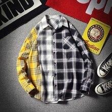 2018 Autumn Casual Plaid Turn Down Collar Long Sleeve Schoolboy Black Men Shirt Contrast Color Stripe Cotton Camisa Large Size contrast color stripe long sleeves coat