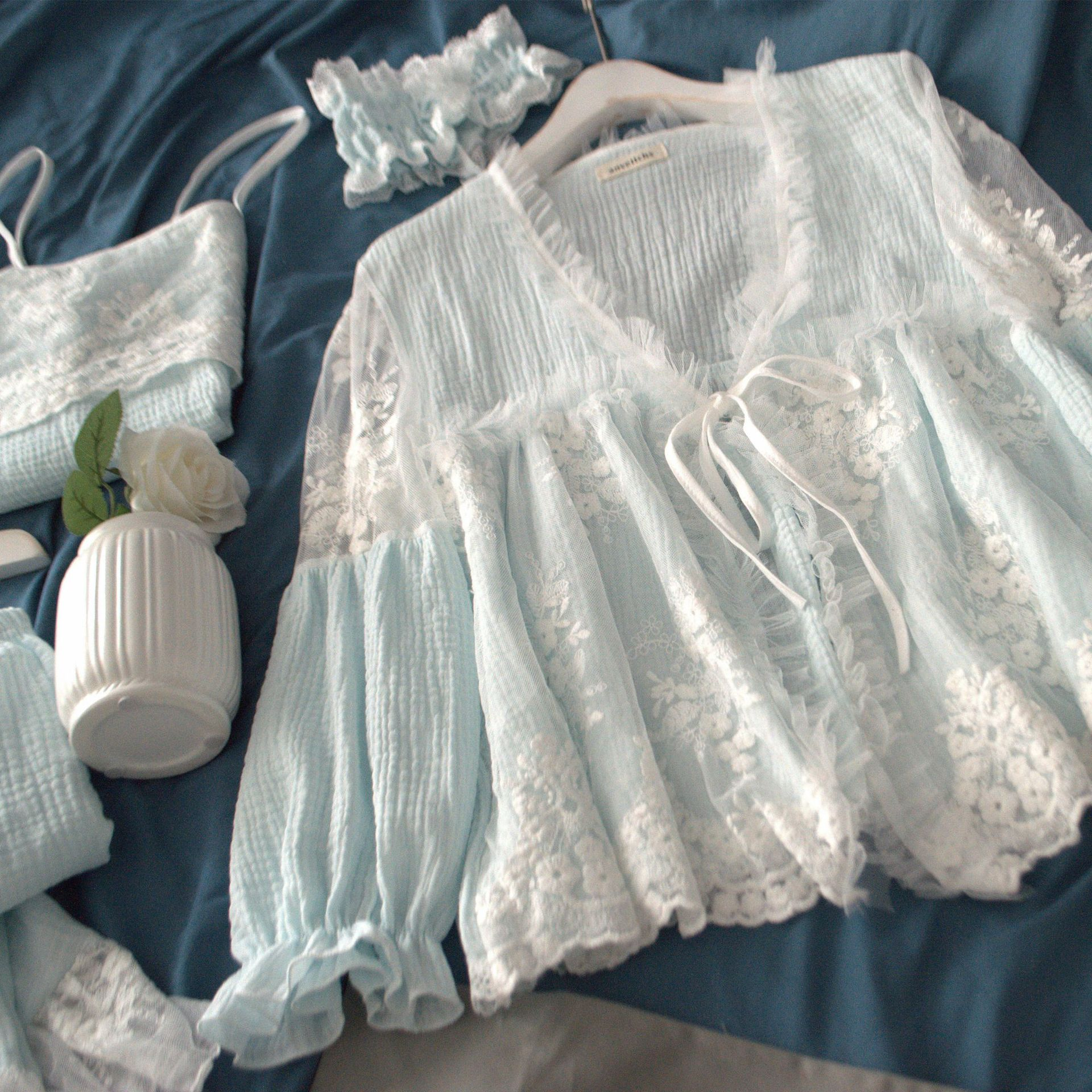 Spring Women   Pajamas     Sets   with Pants Cotton Sleepwear Cute Lace 3 Pieces V-Neck Double Gauze Thin Nightwear Pijama Nightsuit