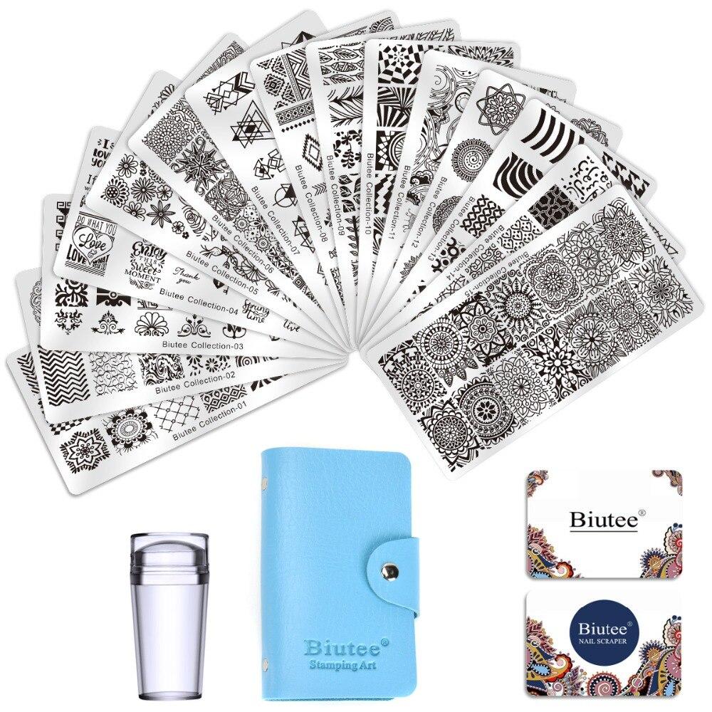 Image 2 - Biutee Nail Stamp Plates set 15 plate +1 Stamper+2 Scraper +1storage bag Desgins Nails Art Stamping Plate Scraper Stamper SetSets & Kits   -