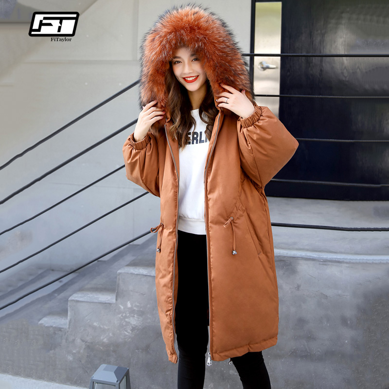 Fitaylor Winter 90% White Duck   Down   Parka Women Medium Long Genuine Raccoon Fur Collar Hooded Warm Jacket   Coats   Loose Overcoat