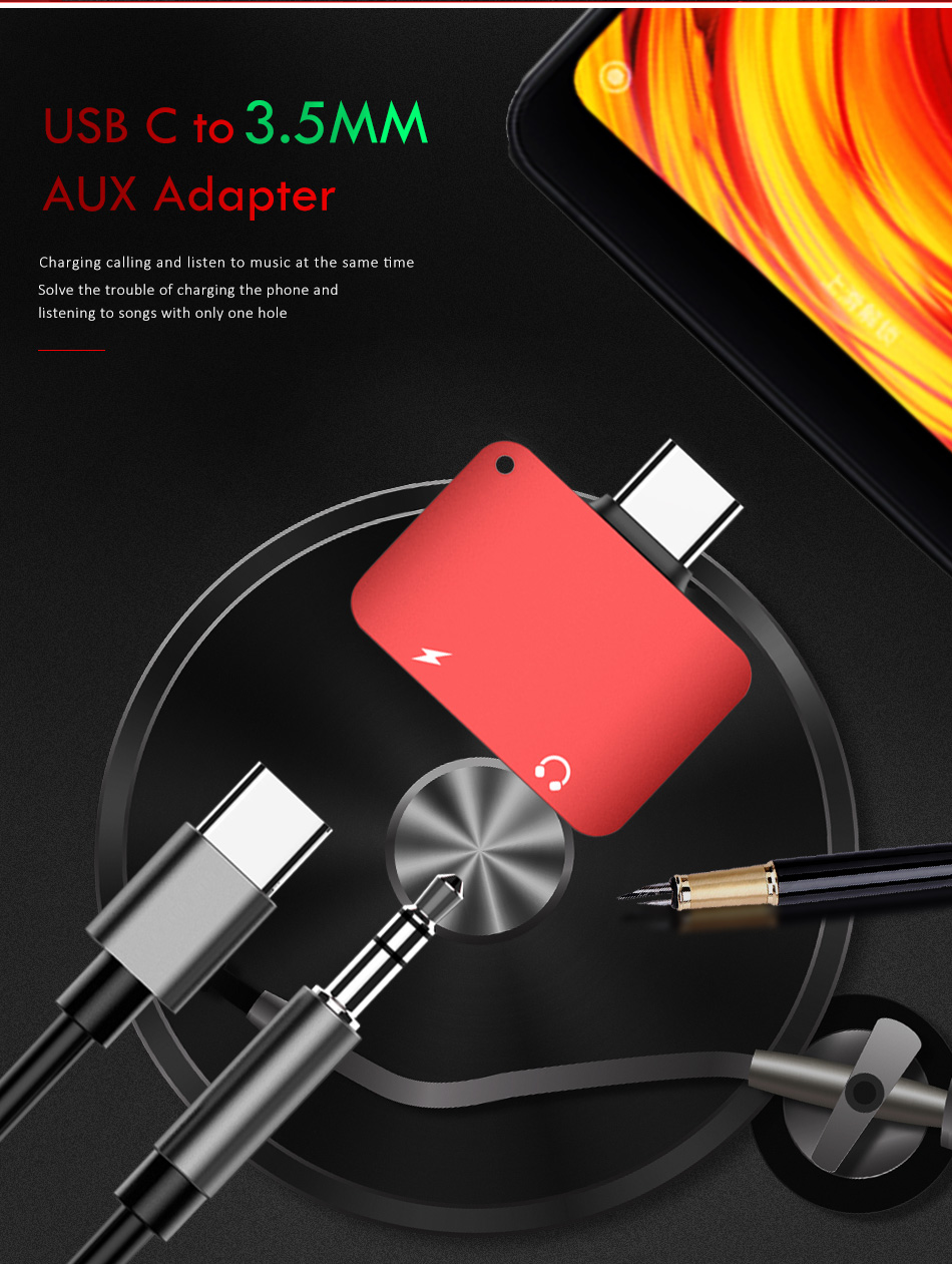 !ACCEZZ 2 in 1 Usb Type C to 3.5mm Aux Audio And Charger Adapter For Xiaomi 6 Nubian n17 Charge Headphone Jack Connect Splitter (2)