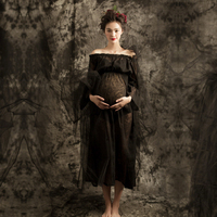 Summer Off Shoulder Pregnant Women Dress Maternity Photography Props Clothes Black Voile Maxi Sexy Maternity Mom Lace Dresses