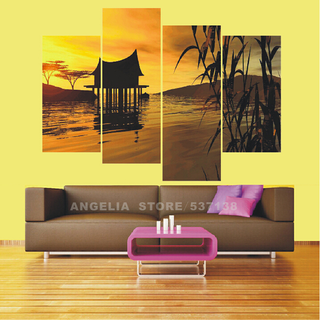 Oil Painting Canvas Yellow 4 Piece Hot Sell River Cottage Modern ...