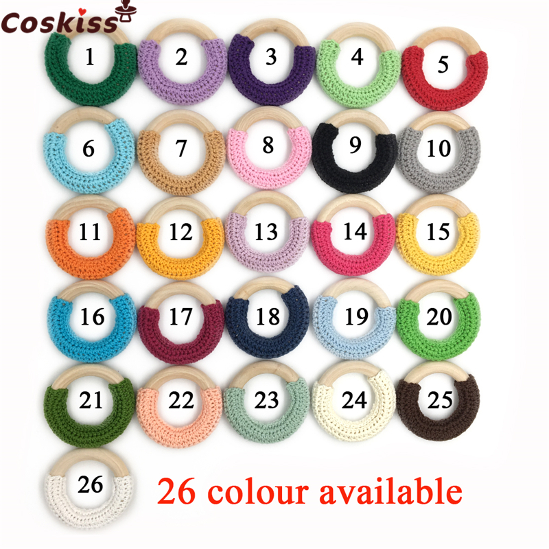 26pcs  5cm(1.97'')Wood Teether Baby Teething Toy Natural Maple Cotton Wooden Ring Charms Chunky Crochet Ring Baby Teether