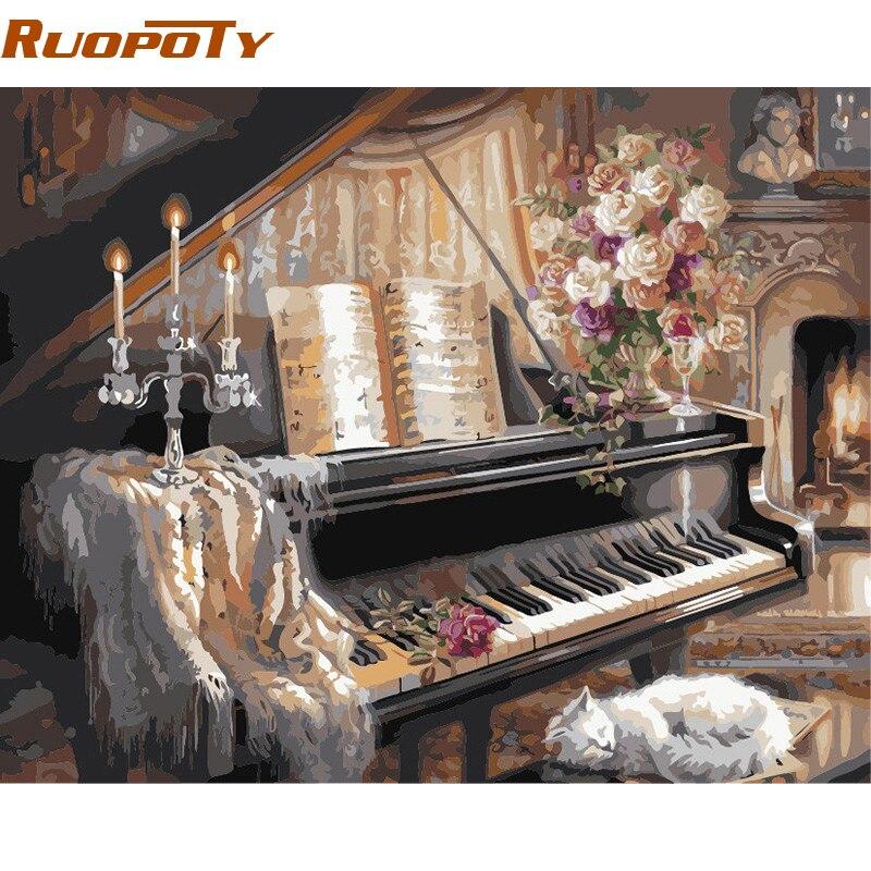 RUOPOTY Cornice Europa Pianoforte DIY Pittura By Numbers Wall Art Picture Pittura a Olio dipinta a Mano Su Tela Per Camera Da Parete opere d'arte