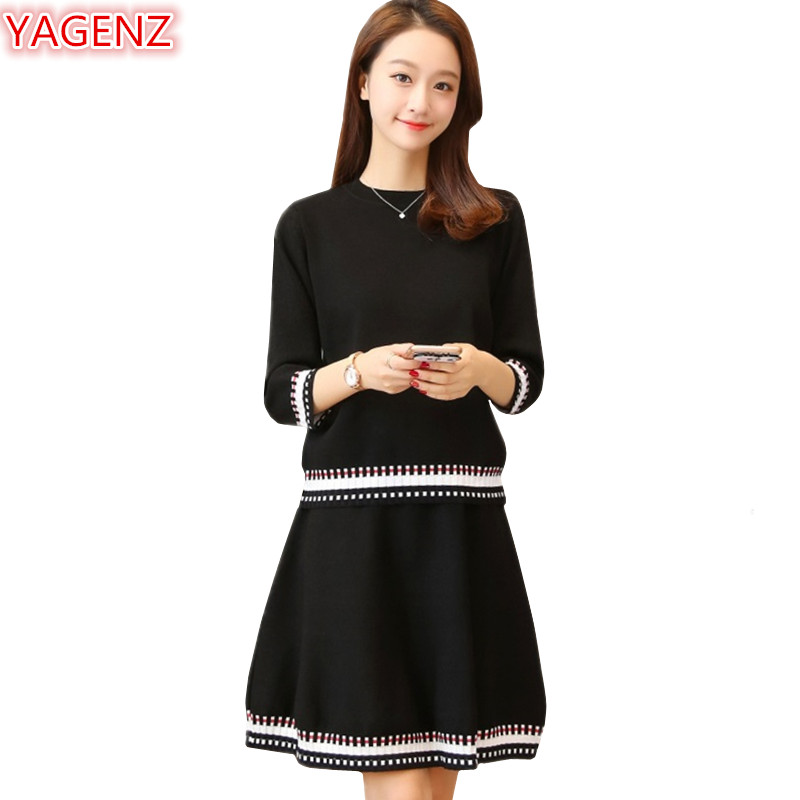 YAGENZ Women Knit Sweater Set Spring Autumn Dresses Women Clothes Knit Sweater Two Pieces Set Seven Points Sleeve Tops+Dress 986