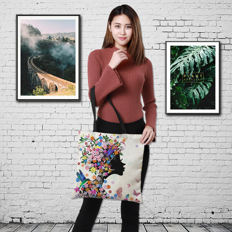 CROWDALE Double-sided printing carton Printed linen Women Large Shopping Bag Tote Sholder Bag for Ladies Linen Handbag Bag Woman