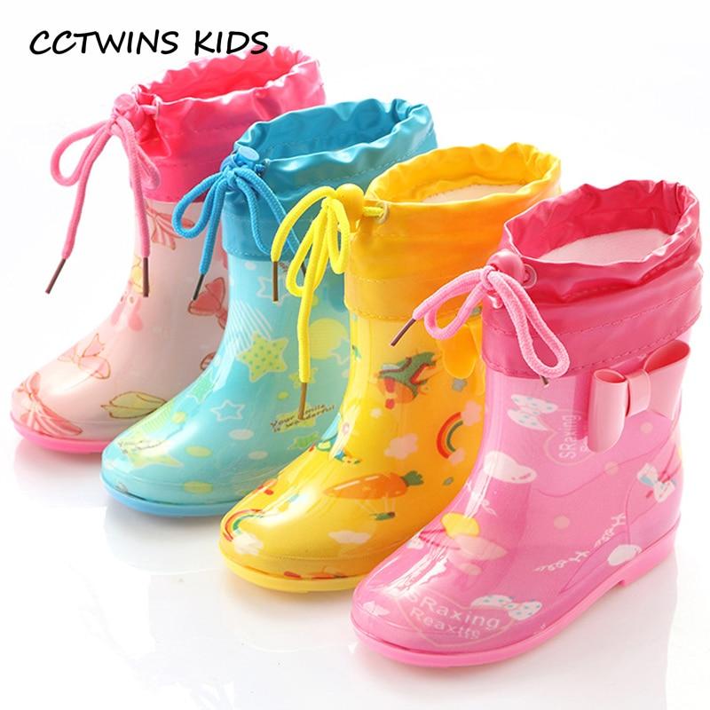 CCTWINS KIDS 2018 Summer Children PVC Baby Girl Blue Rain Boot Boy Wellington Yellow Booties Kid Brand Waterproof Shoe C1118