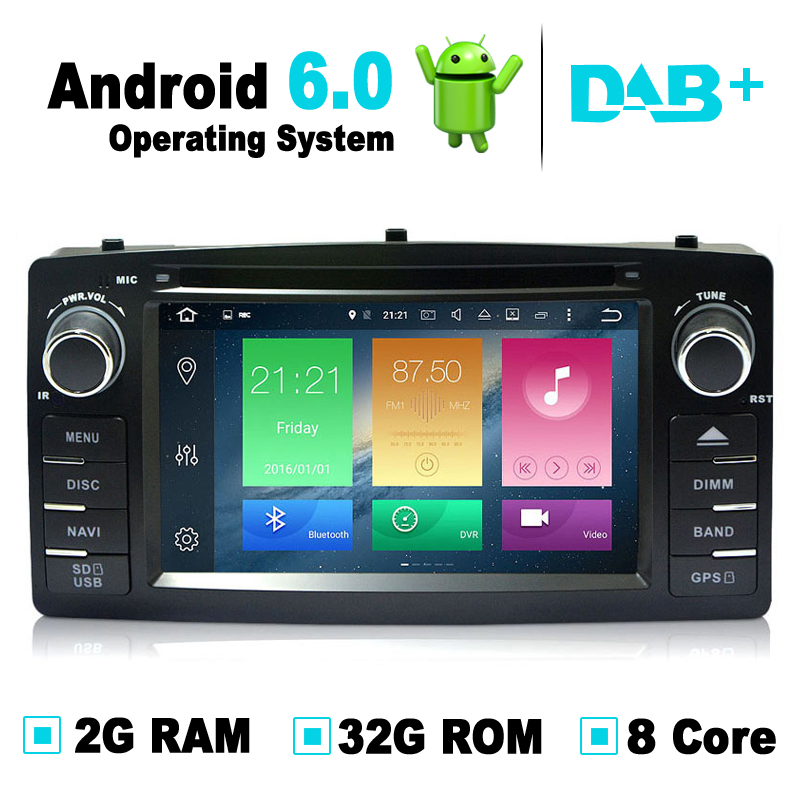 Octa Core,2G RAM,32G ROM,Android 6.0 Car GPS Navigation System DVD Player Radio Stereo Media For BYD F3 For Toyota Corolla E120