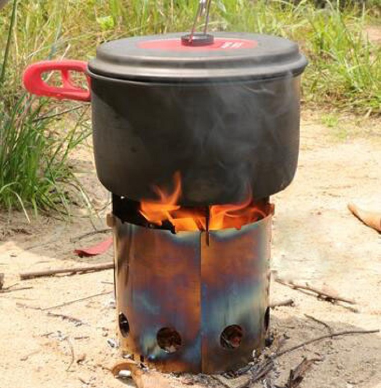 Outdoor Camping wood stove Split type barbecue furnace mini stainless steel stove Ultralight Portable folding stove
