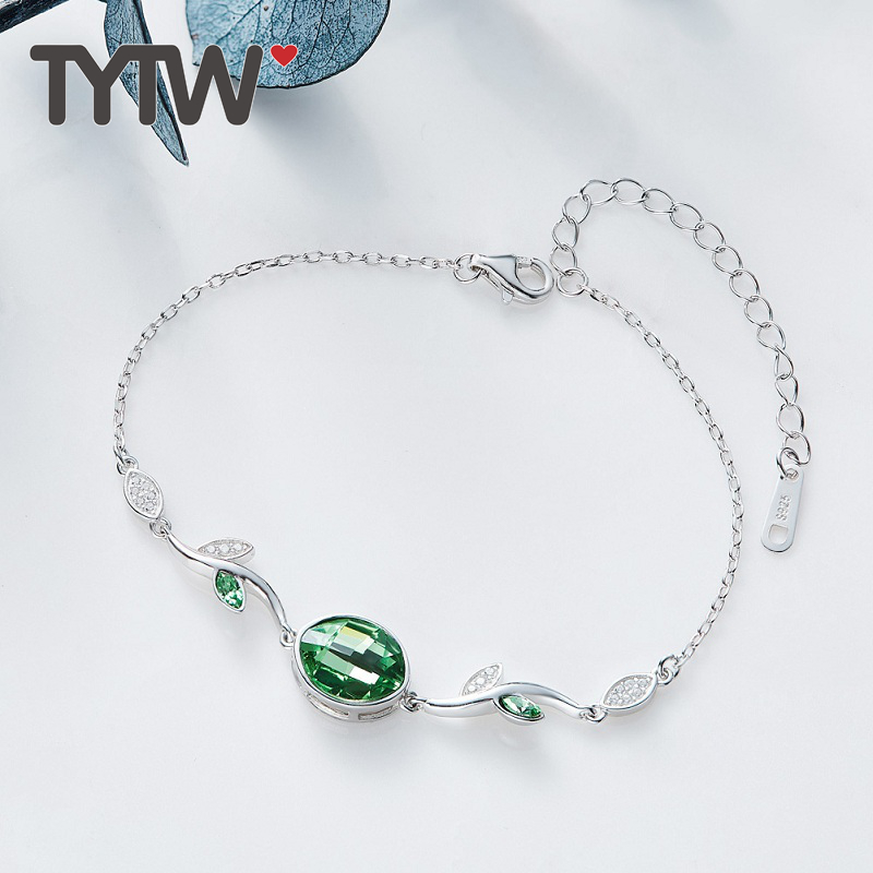 TYTW S925 Cristales de plata esterlina de Swarovski lady Brazalete de - Bisutería - foto 2