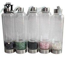 O transporte da gota cristal natural cascalho de quartzo pedra preciosa cura vidro energia elixir garrafa bebida água rosa cascalho pedra copo presente