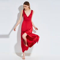 Kinikiss 2017 Sexy Maxi Dress A Line Red Summer V Neck Empire Ankle Length Split Backless