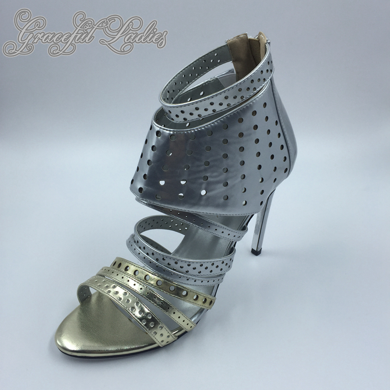 Silver and Gold Short Boots Women Sandals Hollow Out Back Zipper Open Toe High Heel Stilettos Plus Size Fold Ankle Boots silver and gold short boots women sandals hollow out back zipper open toe high heel stilettos plus size fold ankle boots