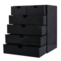 MJARTORIA 2PCs Black Acrylic Cosmetic Makeup Organizer Jewelry Boxes And Packaging Fashion Jewelry Holder Box For