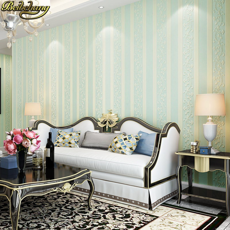 все цены на beibehang papel de parede para quarto Embossed European stripes wallpaper roll living room 3D Wall Paper for bedroom home decor онлайн