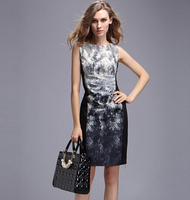 Free Shipping 2015 European And American Ladies Snake Print Silk Tunic Dress Q1112
