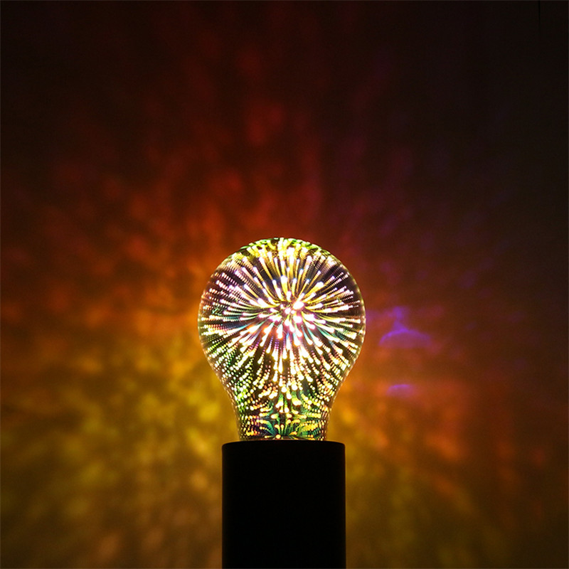 Tanbaby E27 3D Fireworks LED Globe Bulb Decorative Lamp AC85-265V A60 ST64 G80 G95 for Holiday Christmas Party Novelty light