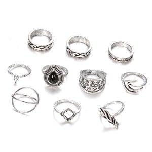 10 Pcs/Set Midi Rings Women Personality Bull Head Wave Leaf Flower Drop Arrow Gem Crystal Punk Ring Men Boho Girl Jewelry