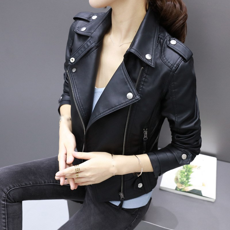 Women Casual Pu   Leather   Jackets Motorcycle Faux Soft   Leather   Jacket Rivet Zipper Lapel PU Jacket Coat Turn Down Collar Outwear