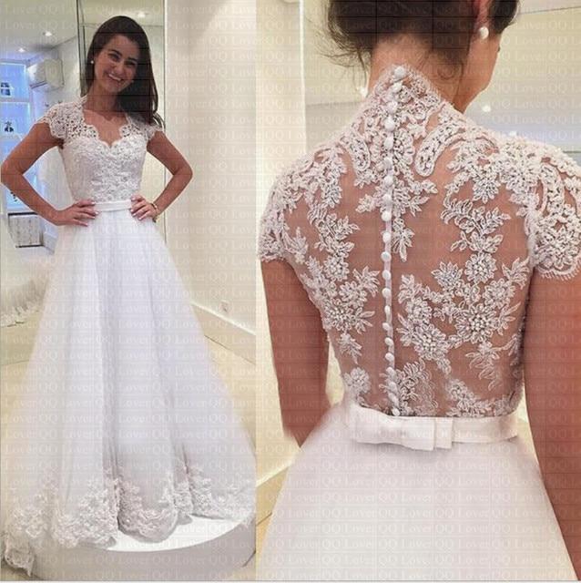 2019 החדש V צוואר קצר שרוול קשת חגורת כפתור אונליין שמלת כלה באיכות הכלה חתונת שמלת Vestido דה Noiva