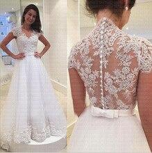Robe de mariée trapèze à col en v à manches courtes et boutons de ceinture avec nœud, robe de mariée sur mesure, qualité, nouveauté 2019