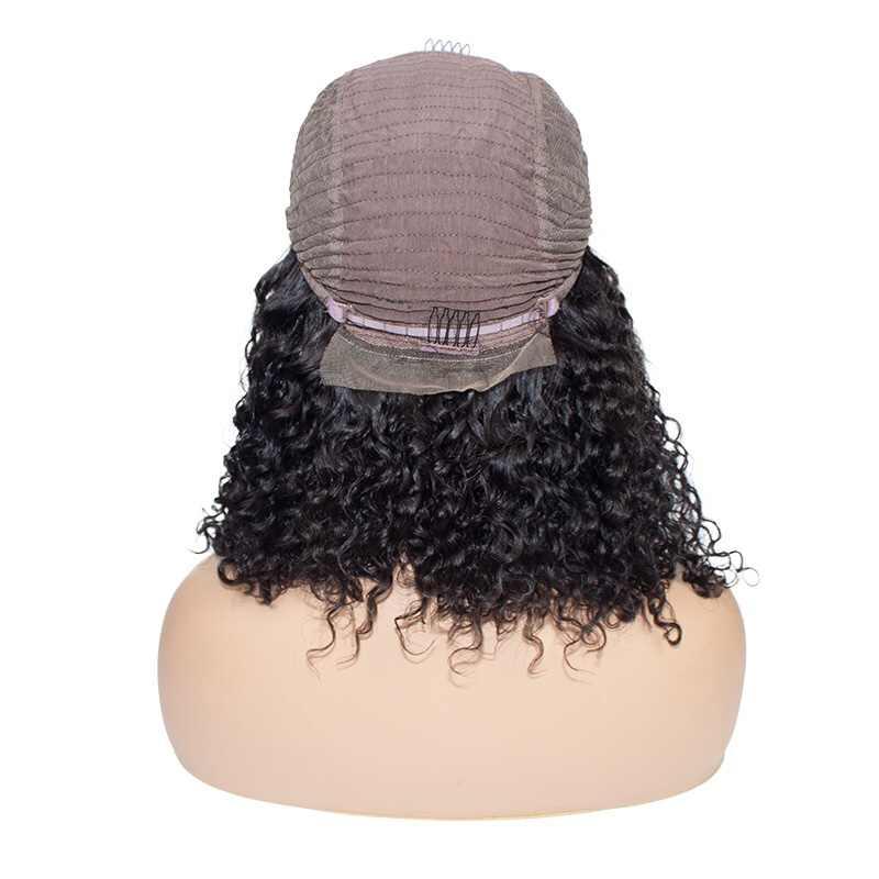 Свободный глубокий короткий Боб 13x4 парик с кружевом спереди для черных женщин бразильские человеческие кудрявые волосы без повреждения кутикулы линия волос предварительно сорвал естественную волну