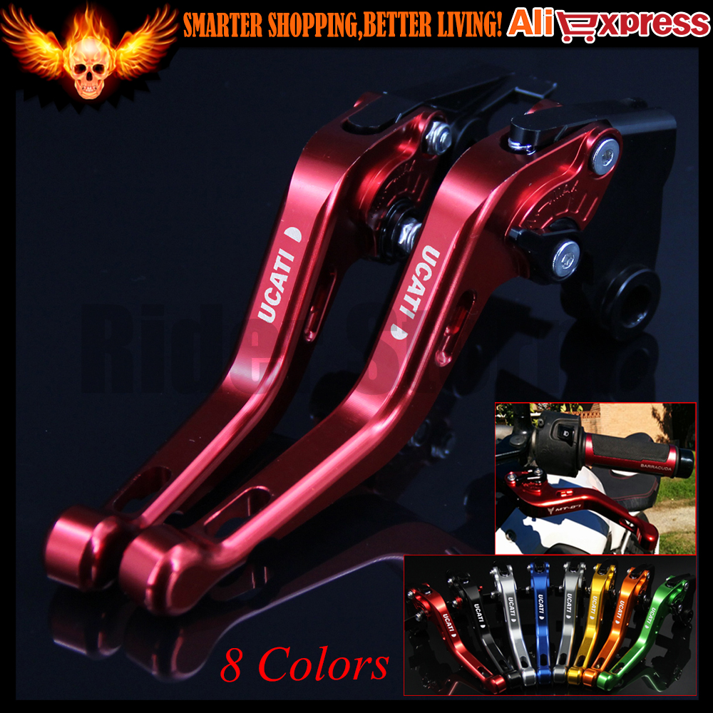 ФОТО 8 Colors New CNC Aluminum Red Motorcycle Short Brake Clutch Levers for Ducati 695 MONSTER 2007 2008