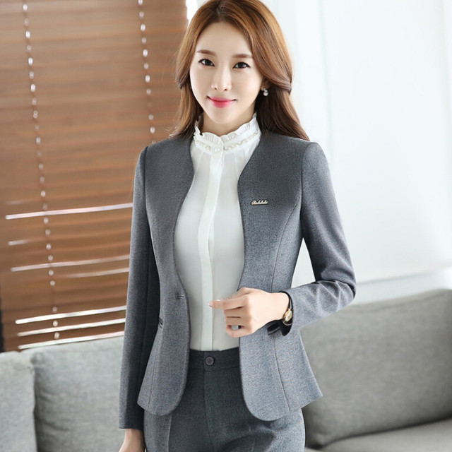 ce5f53f92a1 Autumn new women plus size Blazer with pants for work formal suits fashion  office ladies slim