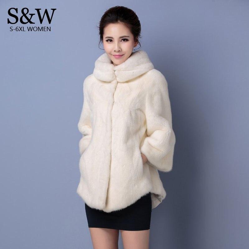 Kadın Giyim'ten Yapay Kürk'de Artı boyutu 5XL 6XL kadın kışlık mont balıkçı yaka beyaz sentetik kürk ceket vizon kürk tavşan kürk sahte kürk ceketler title=