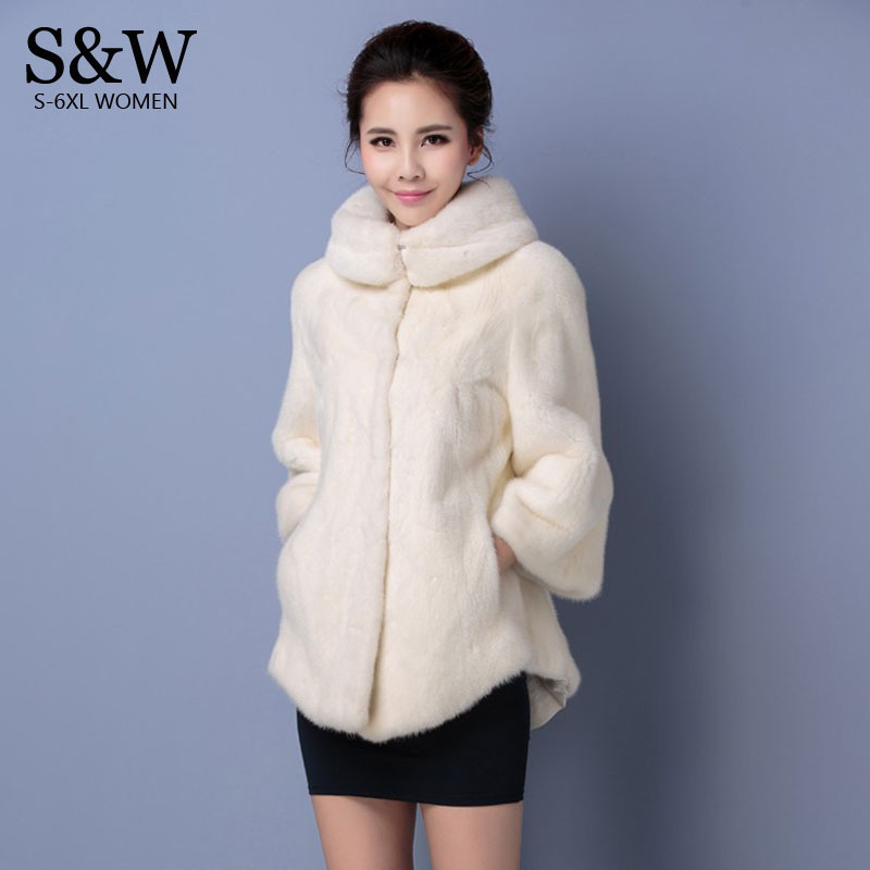 e851325c9ee Plus Size 5XL 6XL Women Winter Coats Turtleneck White Synthetic Fur Coat  Mink Fur Rabbit Fur Coat Fake Fur Jackets